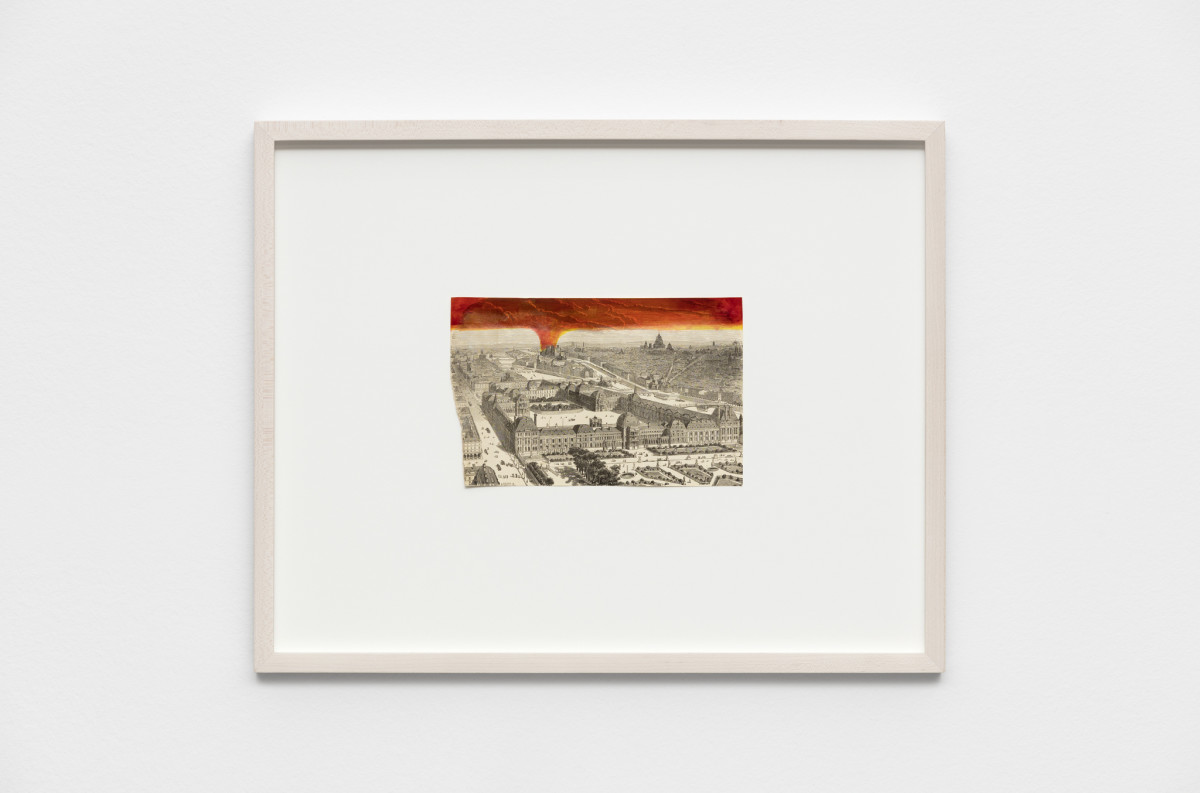 Roman Ondak If, 2019 Ink on found old print 13,1 x 21,1 cm (5 1/8 x 8 1/4 in) (unframed) 40,2 x 50,2 x 4 cm (15 3/4 x 19 3/4 x 1 5/8 in) (framed)