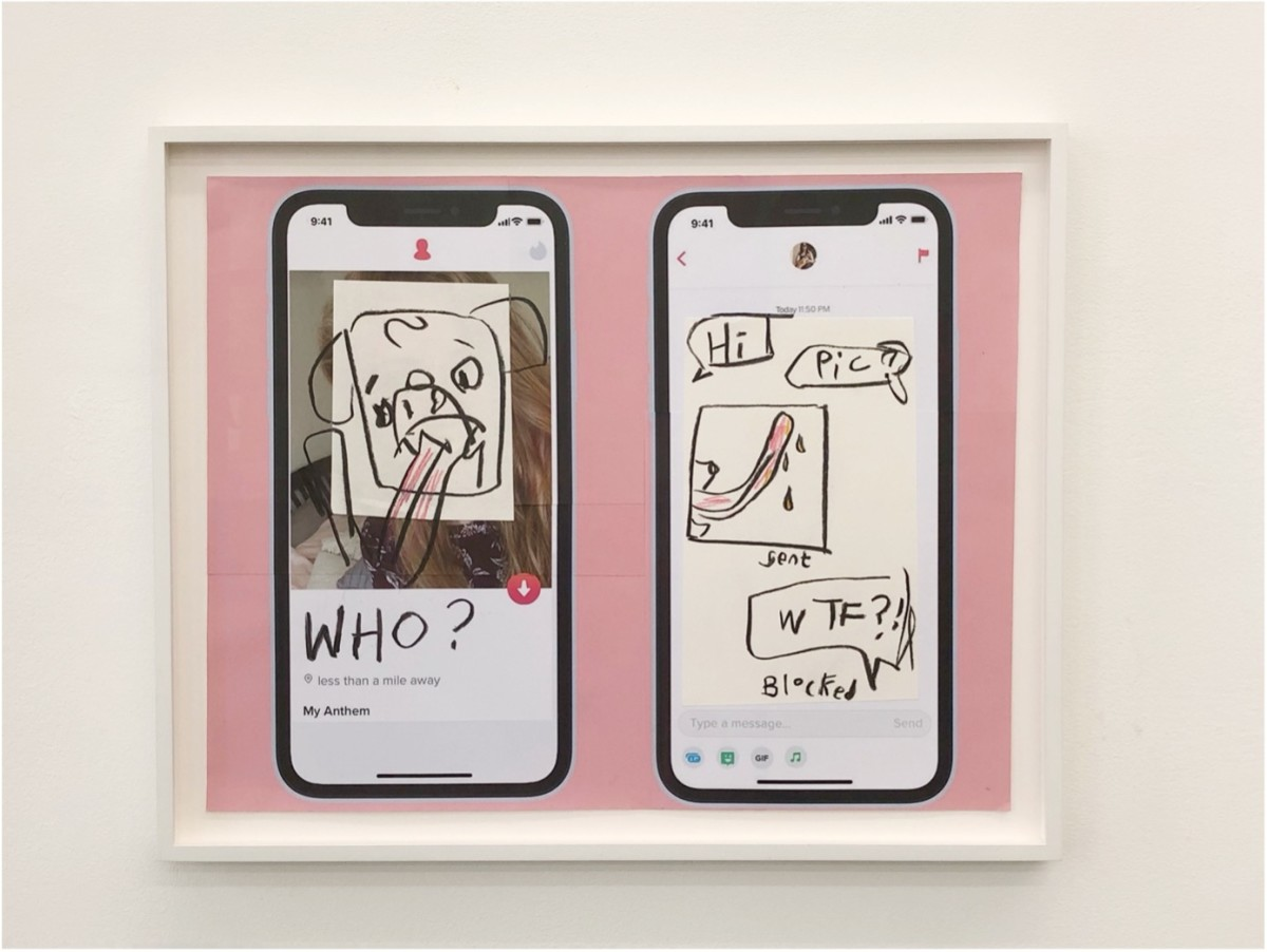 Simon Fujiwara Who's on Tinder? (Pink Profile), 2021 Charcoal, pencil and inkjet print on paper 53,8 x 66,5 x 3,5 cm (26 1/4 x 21 1/8 x 1 3/8 in)