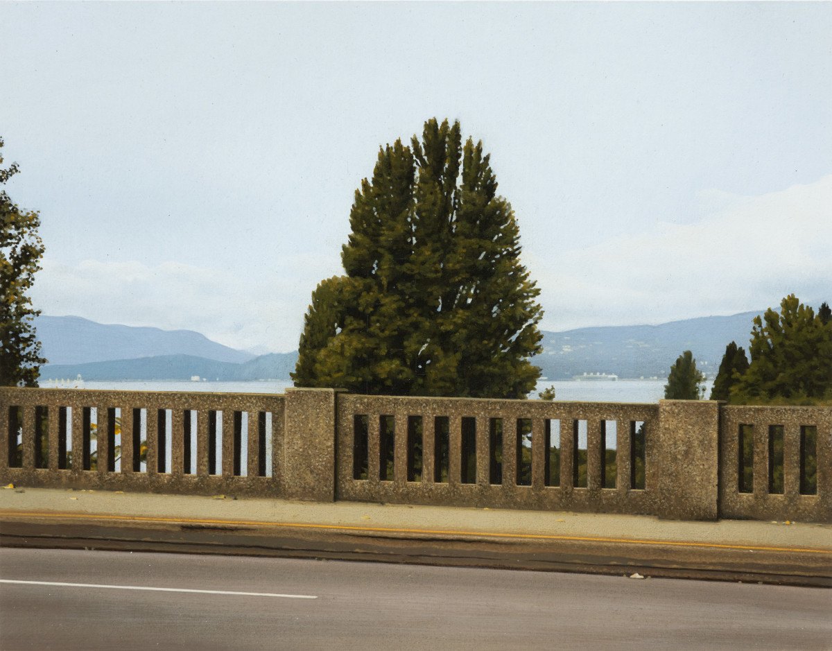 Andrew Grassie Bridge 3, 2020 Tempera on paper on board 14,8 x 18,8 cm (5 1/2 x 7 1/8 in) (image) 31,1 x 35,2 x 3 cm (12 1/4 x 13 3/4 x 1 1/8 in) (framed)