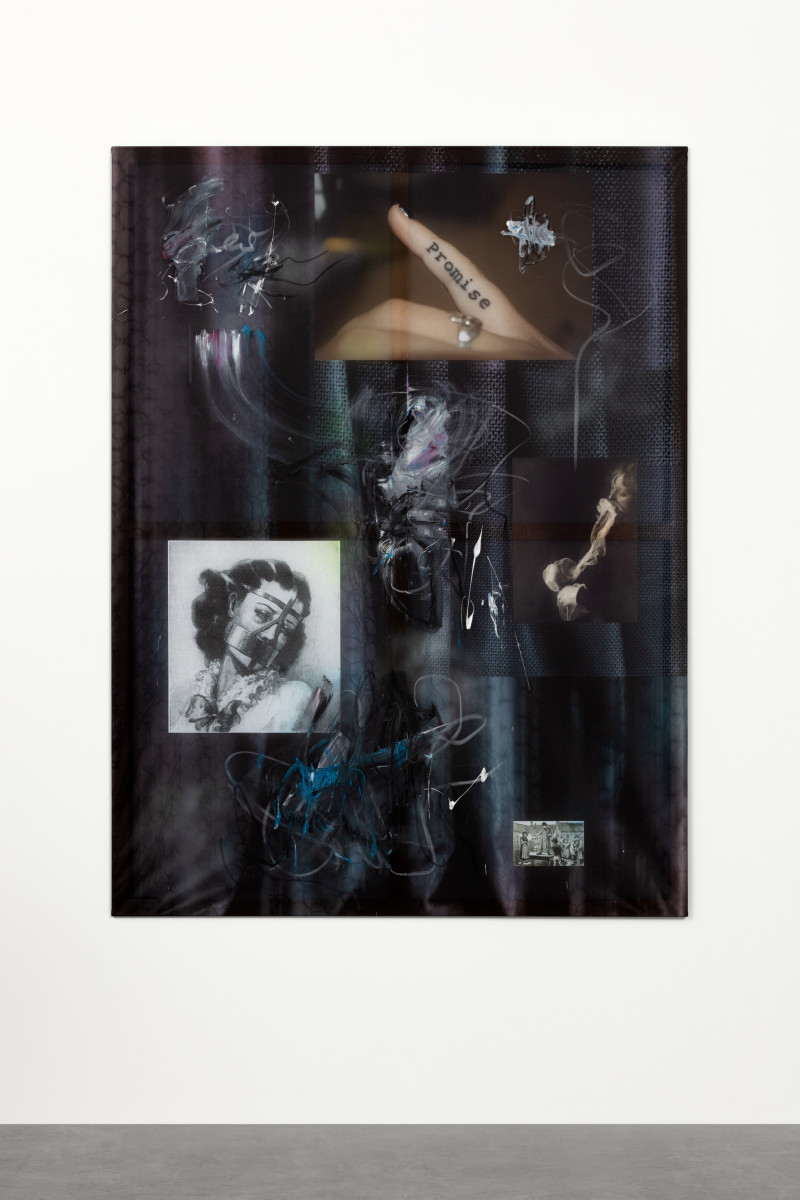 Cordula Ditz The system only dreams in total darkness, 2018 Spray paint, oil stick and acrylic on printed flag fabric 200 x 150 cm (78 3/4 x 59 1/8 in) Signed and dated verso