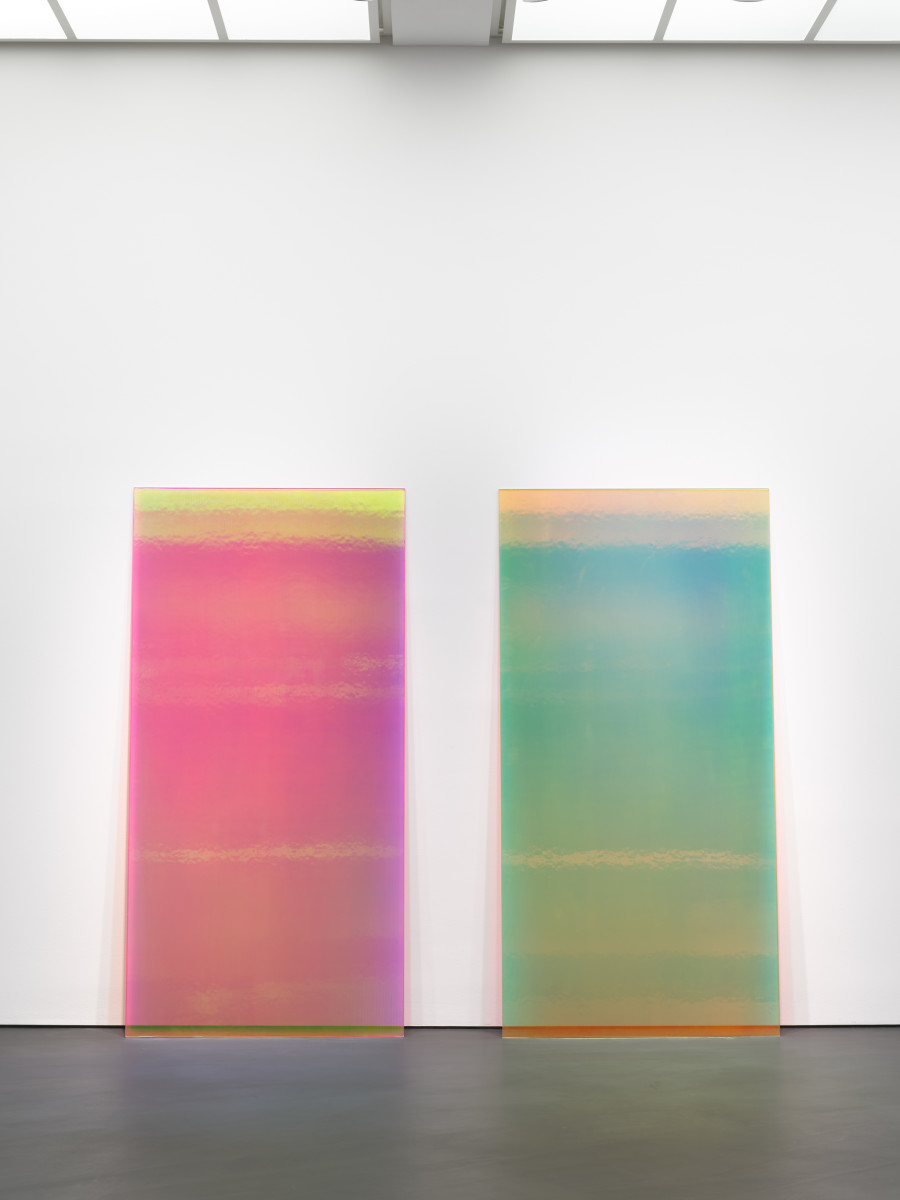 Ann Veronica Janssens Bright Pink & Yellow, 2019 Annealed glass, vertical ribs, PVC filter 230 x 115 x 1,2 cm (90 1/2 x 45 1/4 x 3/8 in) (2 parts) Edition of 1