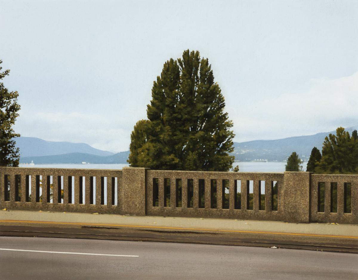 Andrew Grassie Bridge 2, 2020 Tempera on paper on board 14,8 x 18,8 cm (5 1/2 x 7 1/8 in) (image) 31,1 x 35,2 x 3 cm (12 1/4 x 13 3/4 x 1 1/8 in) (framed)