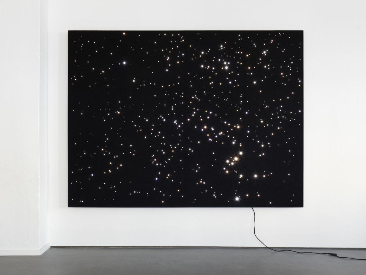 Angela Bulloch Night Sky: Saturn South.12, 2019 LED lights, felt, aluminum 198 x 264 cm (78 x 104 in)