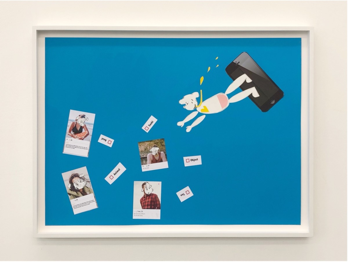 Simon Fujiwara Who's Looking for Love? (Deep Dive Dating), 2021 Inkjet print and paper on card 73 x 97 x 4,5 cm (28 3/4 x 38 1/4 x 1 3/4 in)