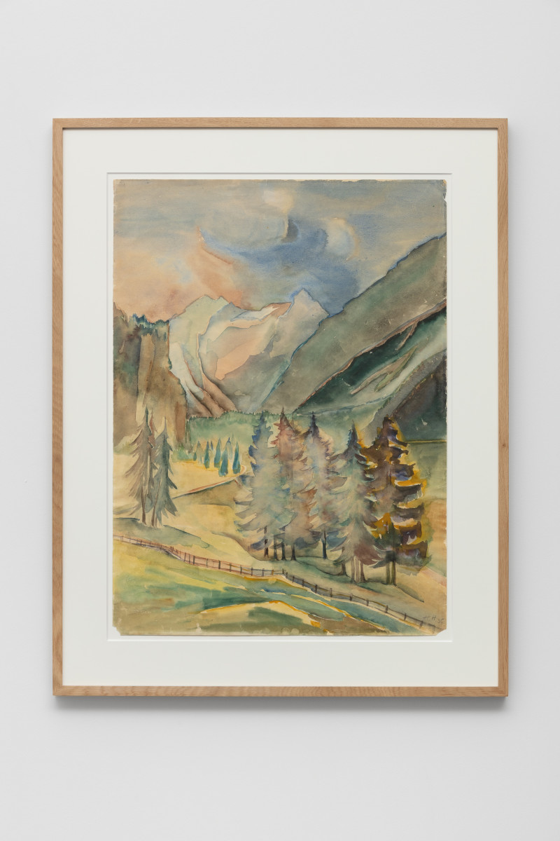 Hannah Höch Seekofel (2810 m) Pragser Wildsee, Braies vecchia/Dolomiten, Sommer 1935, 1935 Watercolor and pencil 64 x 47 cm (25 1/4 x 18 1/2 in) (unframed) Signed lower right recto