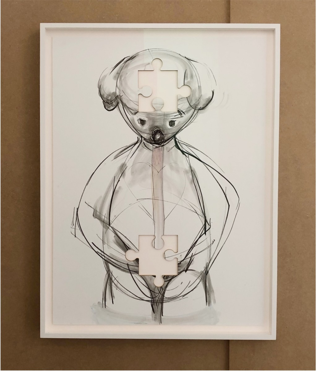 Simon Fujiwara Who is Puzzled (Double Void), 2021 Charcoal and pastel on foam core 73 x 97 x 4,6 cm (28 3/4 x 38 1/4 x 1 3/4 in)