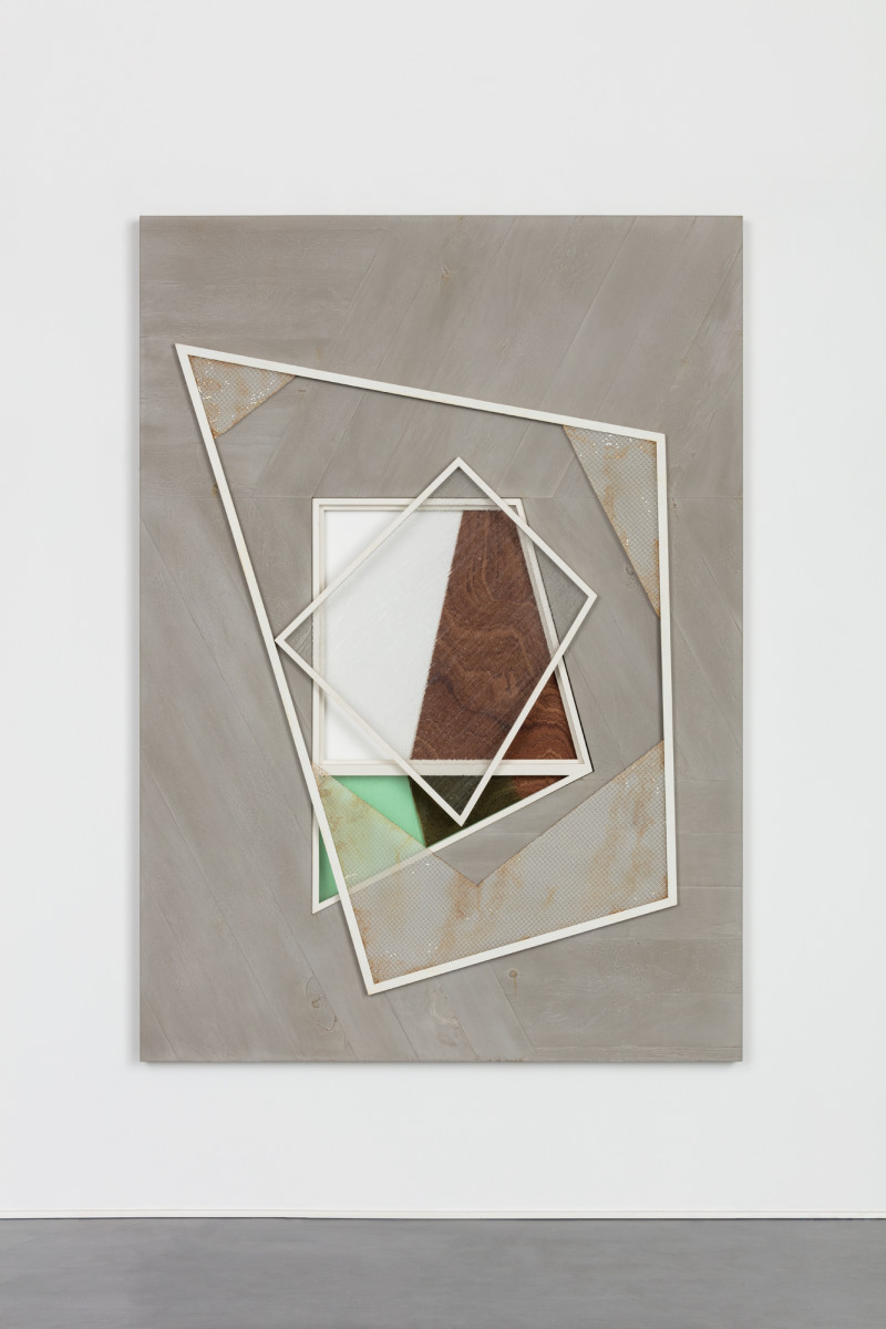 Martin Boyce Untitled, 2018 Jesmonite, painted steel, painted wood, glass, plywood 190 x 135 x 4 cm (74 3/4 x 53 1/8 x 1 5/8 in) 马丁·博伊斯 《无题》,2018年 高分子聚合材料Jesmonite、绘制及生锈钢、绘制木材、玻璃、胶合板 190 x 135 x 8 cm