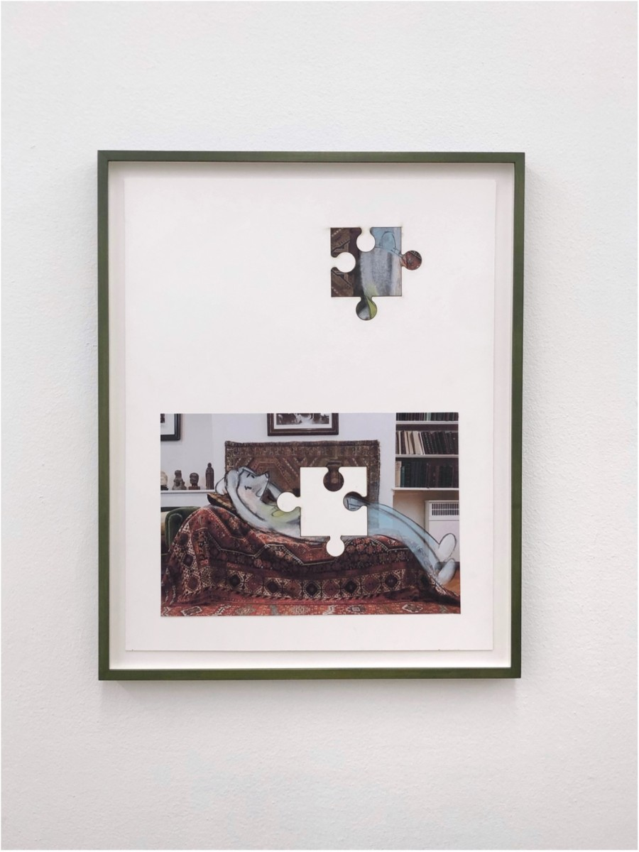 Simon Fujiwara Who is Puzzled? (Therapy), 2021 Charcoal, pastel, and inkjet print on paper 66,7 x 53,6 x 3,5 cm (26 1/4 x 21 1/8 x 1 3/8 in)