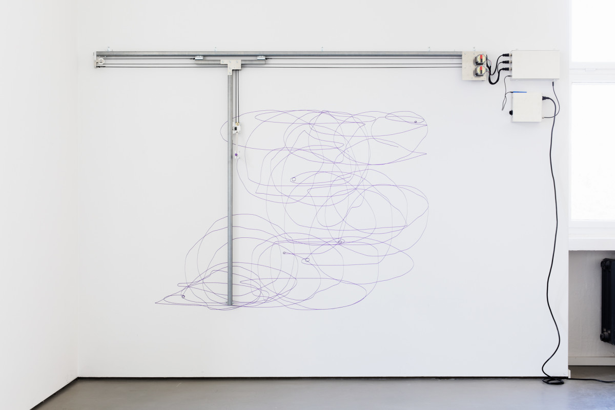 Angela Bulloch Dynamic Stereo Drawing Machine, 2020 Sound-activated drawing machine, ink, metal rails and electronic motor, paper 170 x 300 cm