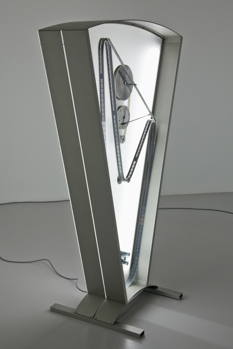 Rosa Barba Color Clock (blue): Verticals Lean Occasionally Consistently Away from Viewpoints, 2012 35 mm film, motor, aluminum, Plexiglas Edition of 3