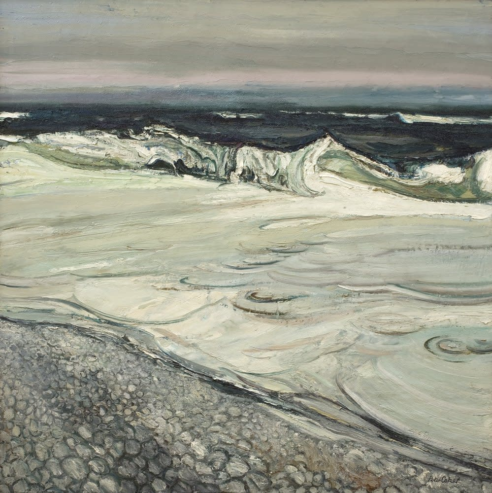 "<div class=""artist""><strong>Peter Coker</strong></div><div class=""title_and_year""><em>Aldeburgh I</em>, <span class=""title_and_year_year"">1964</span></div><div class=""medium"">Oil on board</div><div class=""dimensions"">121.9 x 121.9 cm<br/> 48 x 48 in</div><div class=""signed_and_dated"">Signed lower right 'Peter Coker' <br/> Inscribed and dated 'High Sea, Aldeburgh, Suffolk April 1964'</div>"