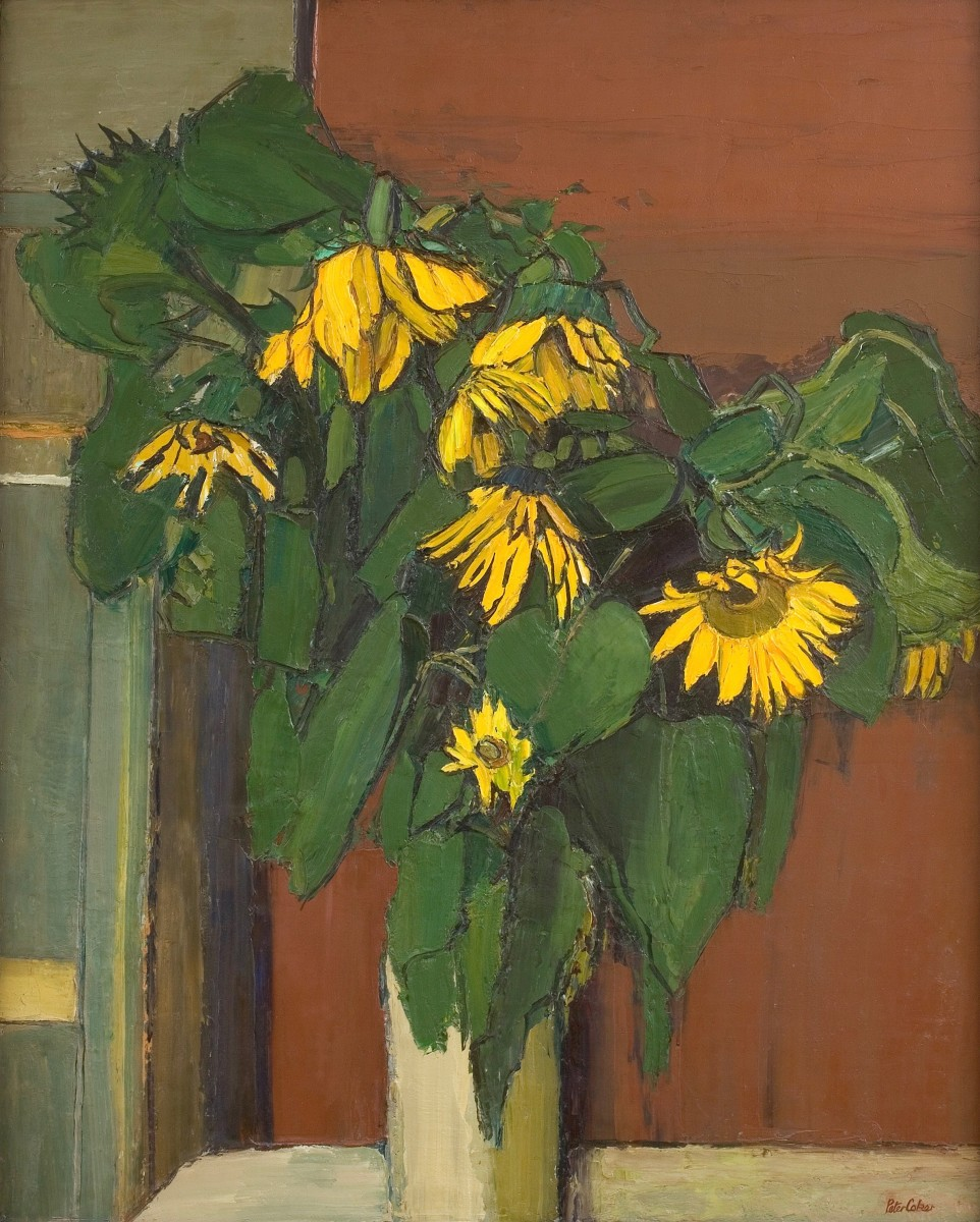 """<div class=""""artist""""><strong>Peter Coker</strong></div><div class=""""title_and_year""""><em>Sunflowers</em>, <span class=""""title_and_year_year"""">1958</span></div><div class=""""medium"""">Oil on hardboard</div><div class=""""dimensions"""">120 x 97 cm<br/>47 1/4 x 38 1/4 in</div><div class=""""signed_and_dated"""">Signed lower right 'Peter Coker' </div>"""