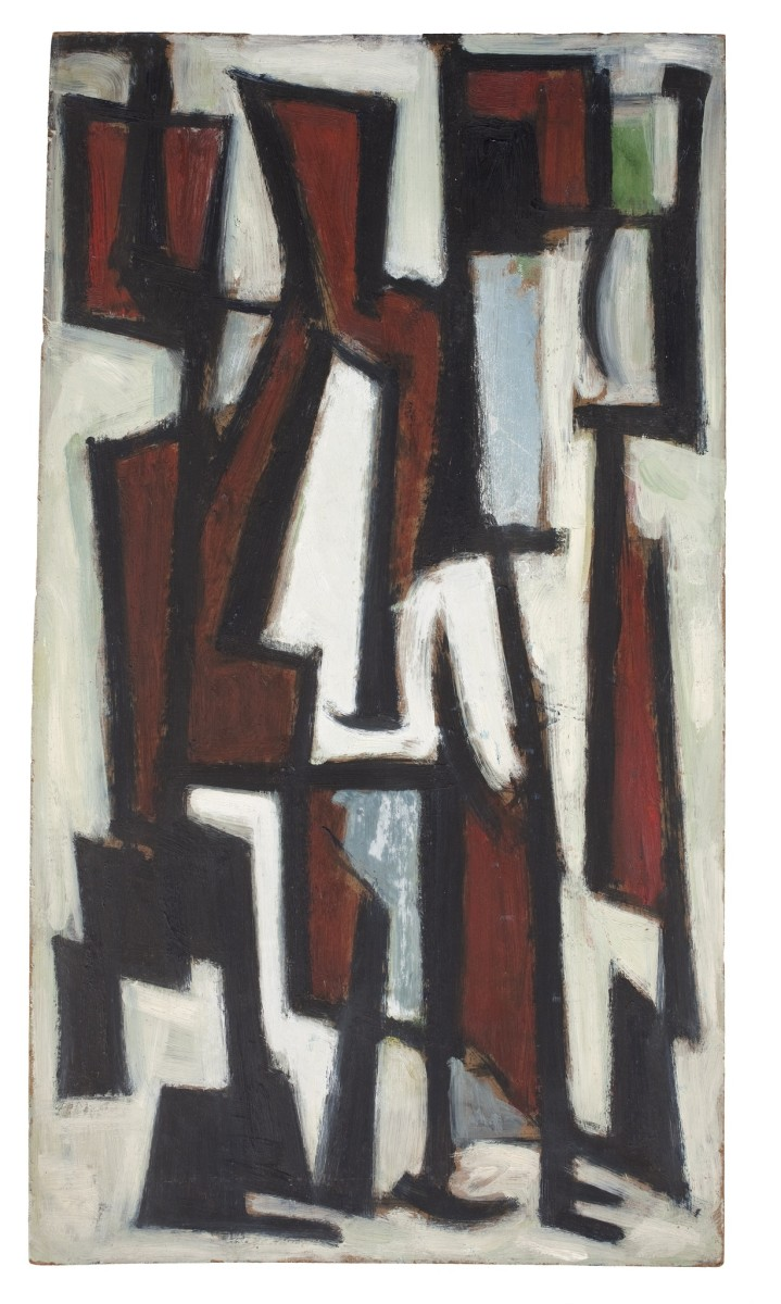 "<div class=""artist""><strong>Leo Davy</strong></div><div class=""title_and_year""><em>Seated Figures I</em>, 1952</div><div class=""medium"">Oil on board</div><div class=""dimensions"">54.5 x 30 cm<br/>21 1/2 x 11 3/4 in</div>"
