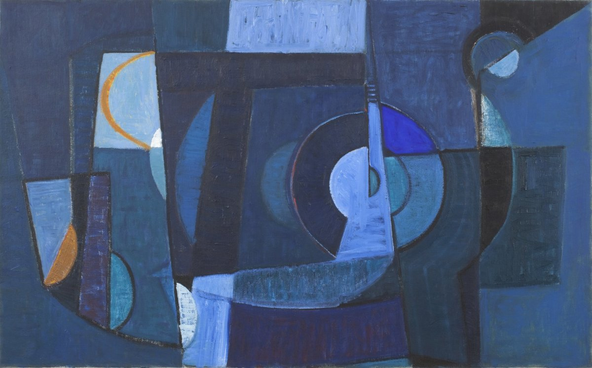 "<div class=""artist""><strong>Terry Frost</strong></div><div class=""title_and_year""><em>Blue Harbour</em>, 1953</div><div class=""medium"">Oil on Canvas</div><div class=""dimensions"">66 x 107 cm</div>"