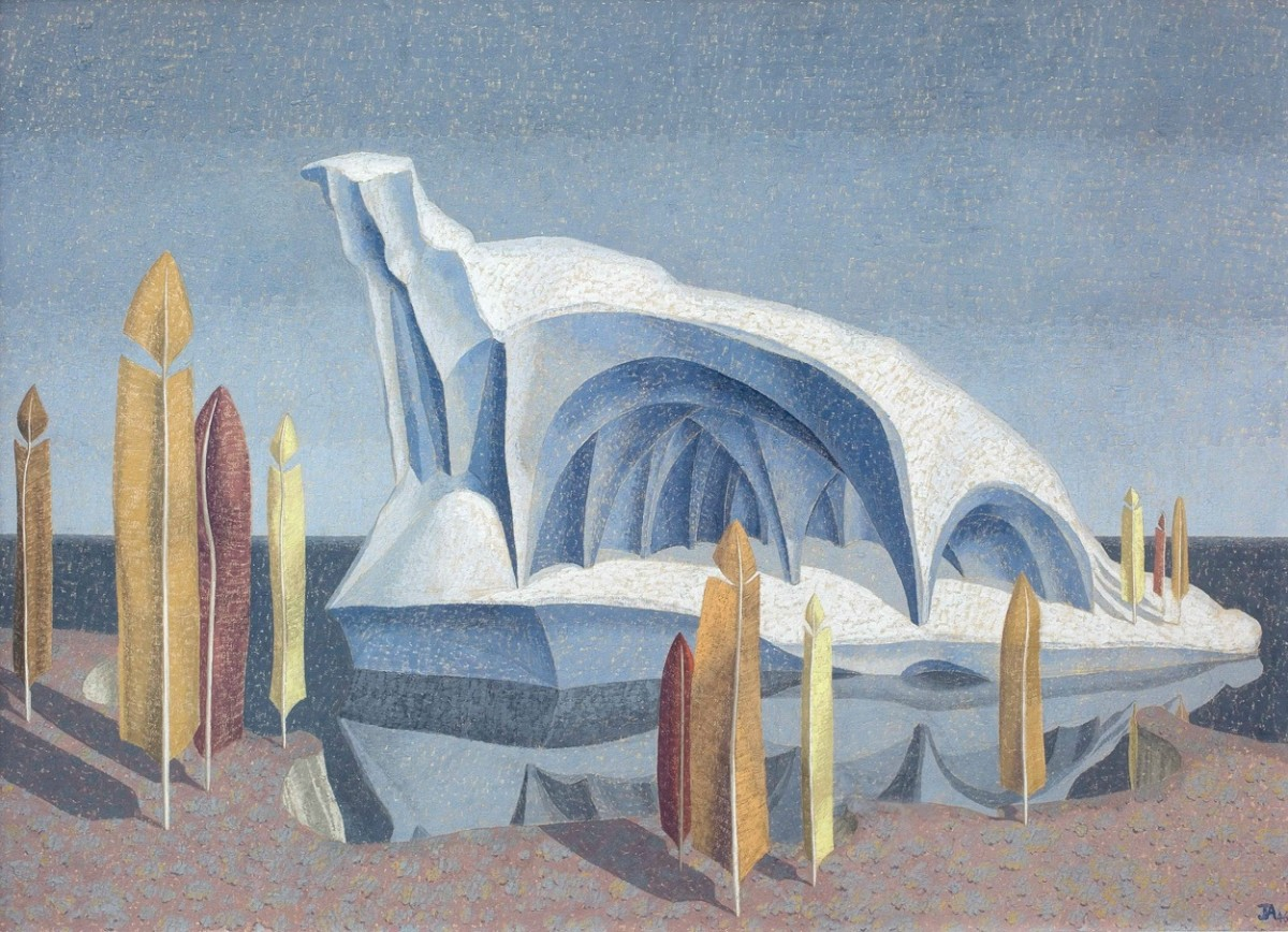 """<div class=""""artist""""><strong>John Armstrong</strong></div><div class=""""title_and_year""""><em>The Iceberg</em>, <span class=""""title_and_year_year"""">1946</span></div><div class=""""medium"""">Tempera on board</div><div class=""""dimensions"""">43.2 x 59.7 cm<br/>17 1/8 x 23 1/2 in</div><div class=""""signed_and_dated"""">Signed with initials JA and dated lower right</div>"""