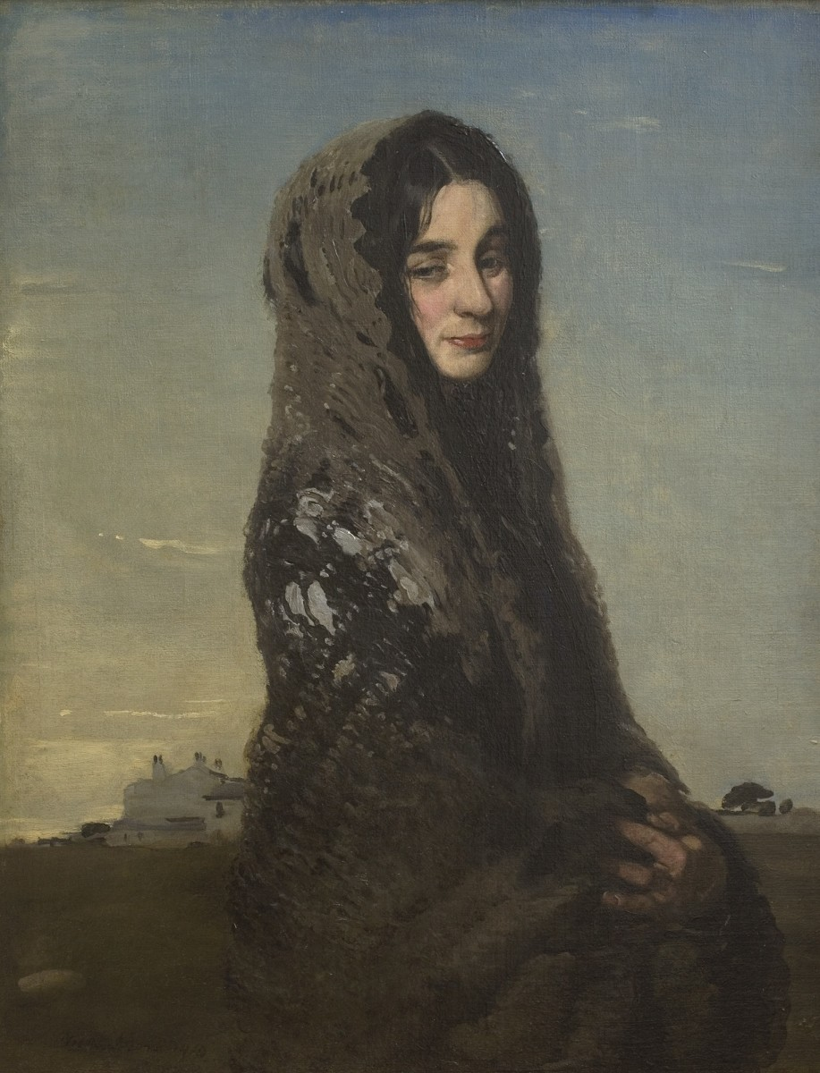 "<div class=""artist""><strong>William Nicholson</strong></div><div class=""title_and_year""><em>The Grey Shawl</em>, <span class=""title_and_year_year"">1910</span></div><div class=""medium"">Oil on canvas</div><div class=""dimensions"">91.4 x 71.1 cm<br/>36 x 28 in</div><div class=""signed_and_dated"">Signed 'William Nicholson 1910'</div>"