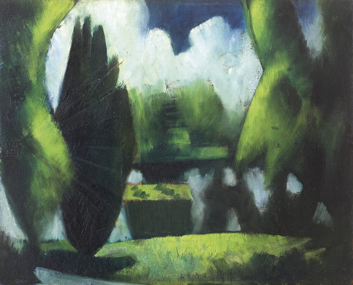 """<div class=""""artist""""><strong>Mark Gertler</strong></div><div class=""""title_and_year""""><em>The Pond, Garsington</em>, <span class=""""title_and_year_year"""">1916</span></div><div class=""""medium"""">Oil on board</div><div class=""""dimensions"""">32 x 42 cm<br/> 12 5/8 x 16 1/2 in</div><div class=""""signed_and_dated"""">(Beneath oil) Study for Merry-Go-Round; (Verso) Study of Gilbert Cannan<br/> Signed (verso) 'Mark Gertler', inscribed 'The Pond', and dated 'July 1916'</div>"""