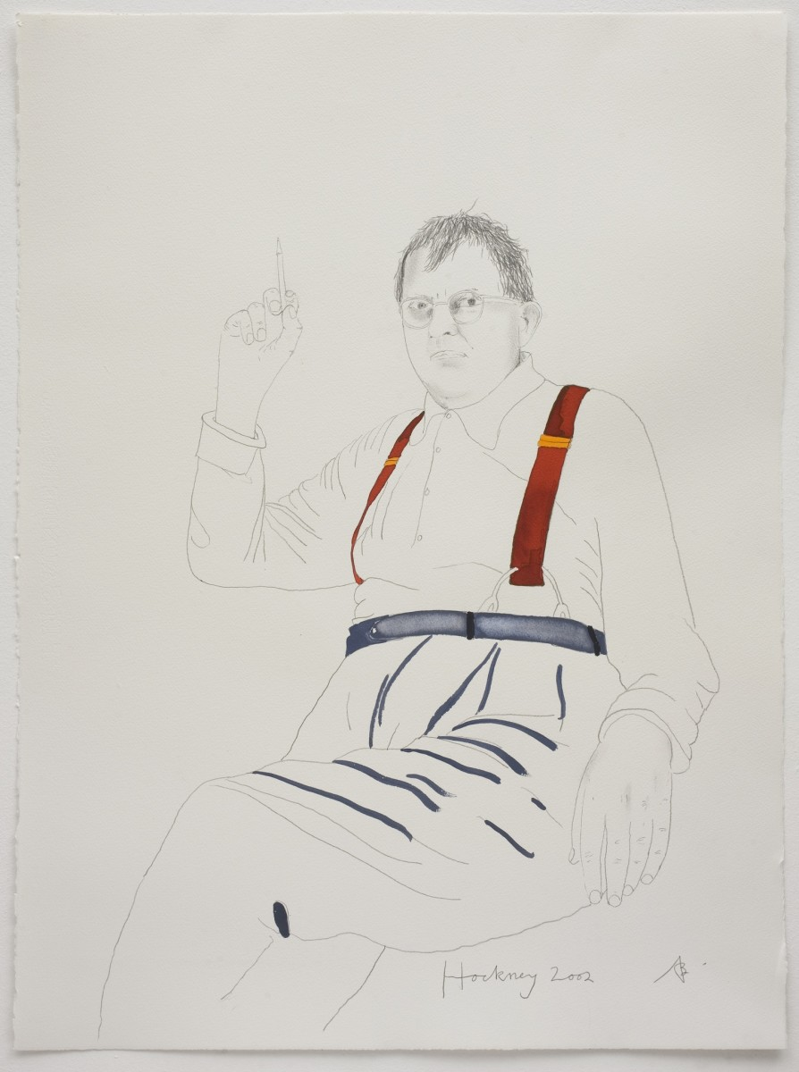 "<div class=""artist""><strong>Adam Birtwistle</strong></div><div class=""title_and_year""><em>(16) Hockney, 2002</em>, 2002/2015</div><div class=""medium"">Pencil and ink on paper</div><div class=""dimensions"">76.8 x 56 cm<br/>30 1/4 x 22 1/8 in</div><div class=""signed_and_dated"">Titled and signed</div>"