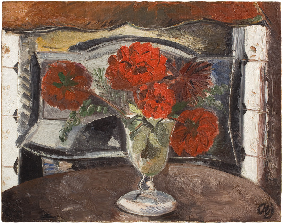 "<div class=""artist""><strong>Paul Nash</strong></div><div class=""title_and_year""><em>Dahlias</em>, <span class=""title_and_year_year"">1927</span></div><div class=""medium"">Oil on canvas</div><div class=""dimensions"">41 x 51 cm<br/>16 1/8 x 20 1/8 in</div><div class=""signed_and_dated"">Signed lower right 'PN'</div>"