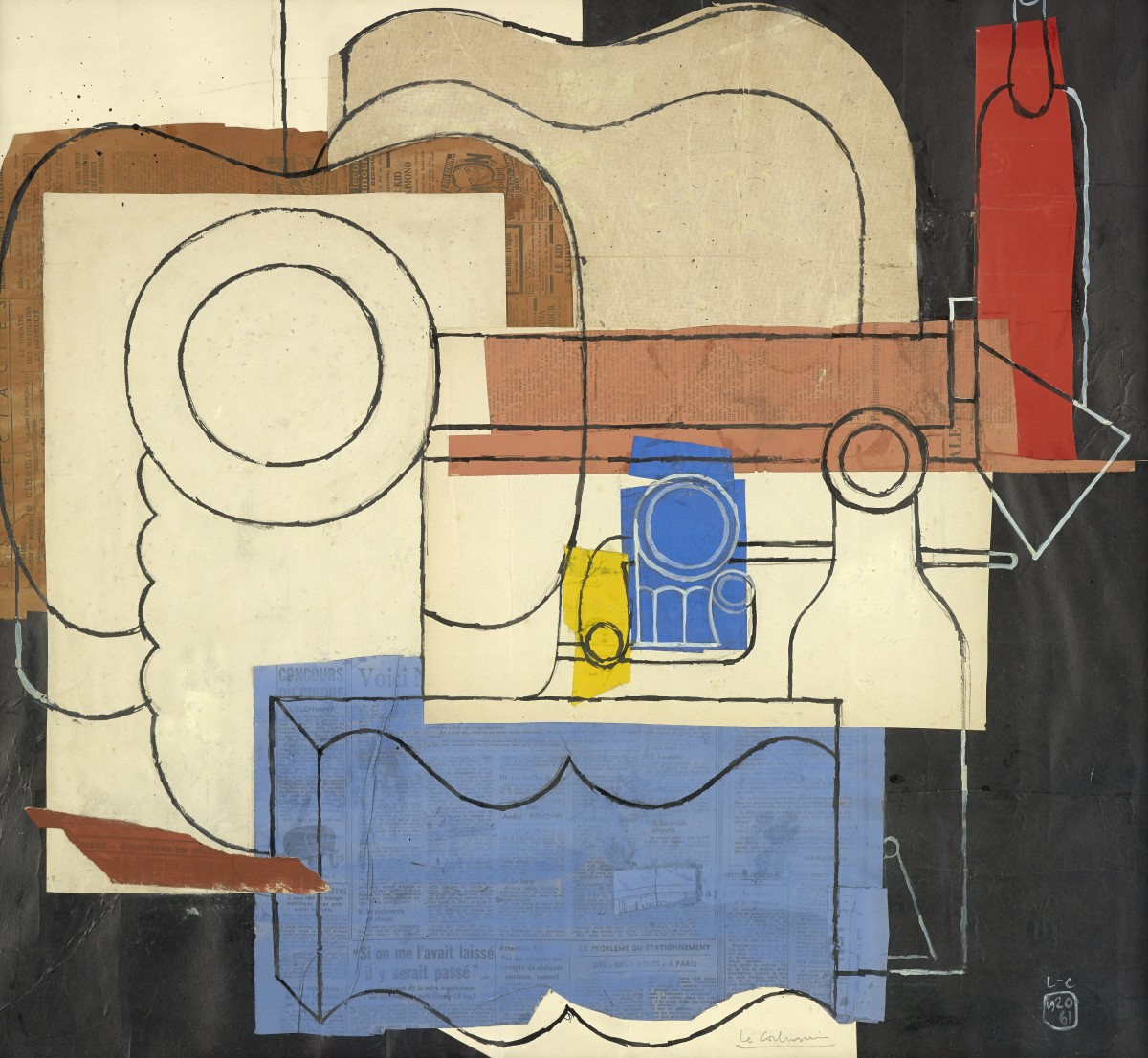 <p>Le Corbusier</p><p>(1887-1965)</p><p>Still life with guitar, pile of plates, an open book, pipes, bottles and glasses</p><p>1961</p><p>Collage, gouache and ink on paper</p><p>74 x 81 cm</p><p>Monogrammed and dated lower right: 'L-C / 1920 / 61'</p>