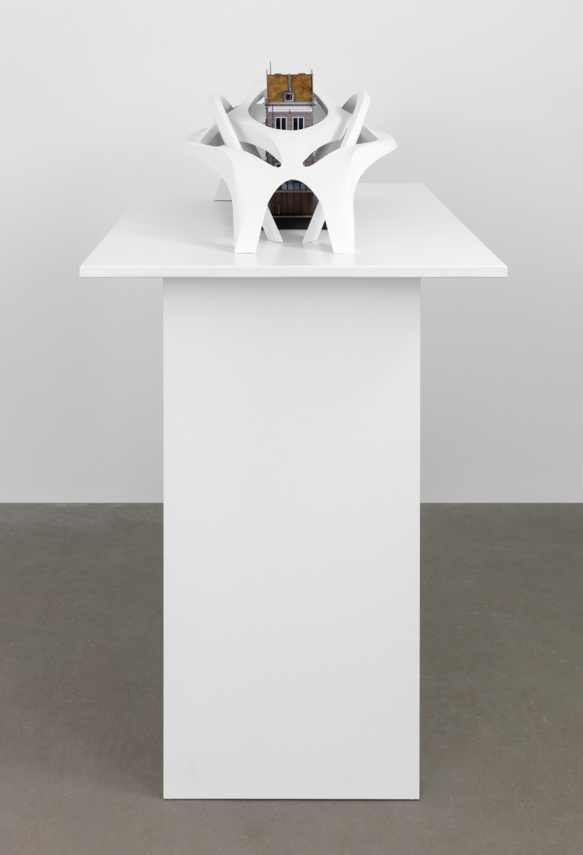 Simon Fujiwara, Untitled (Superstructure), 2020, polycarbonate and cardboard, 33 x 100 x 70 cm (13 x 39 3/8 x 27 1/2 in), plinth: 90 x 54 x 75 cm (35 3/8 x 21 1/4 x 29 1/2 in), edition of 3