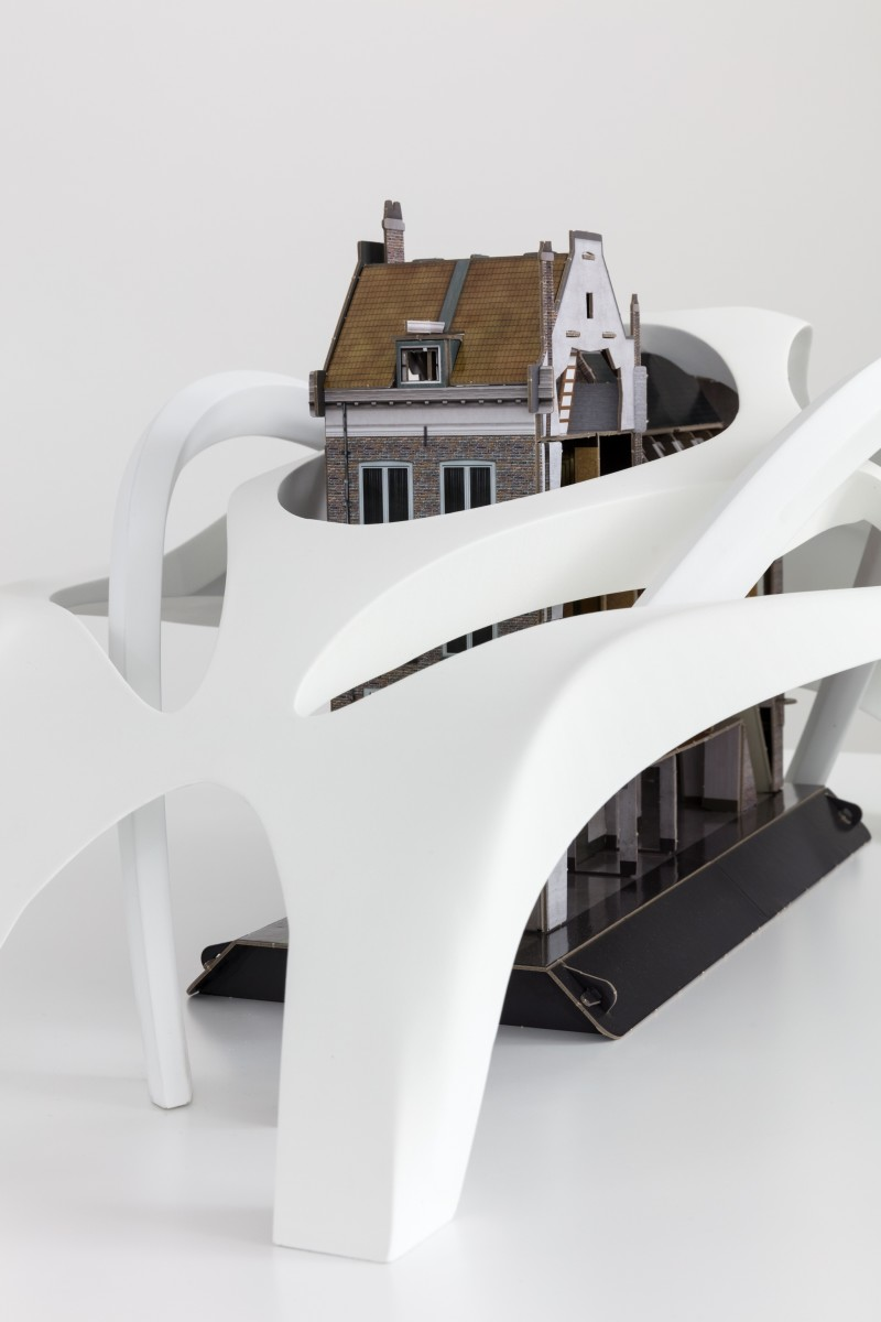 Detail: Simon Fujiwara, Untitled (Superstructure), 2020, polycarbonate and cardboard, 33 x 100 x 70 cm (13 x 39 3/8 x 27 1/2 in), plinth: 90 x 54 x 75 cm (35 3/8 x 21 1/4 x 29 1/2 in), edition of 3