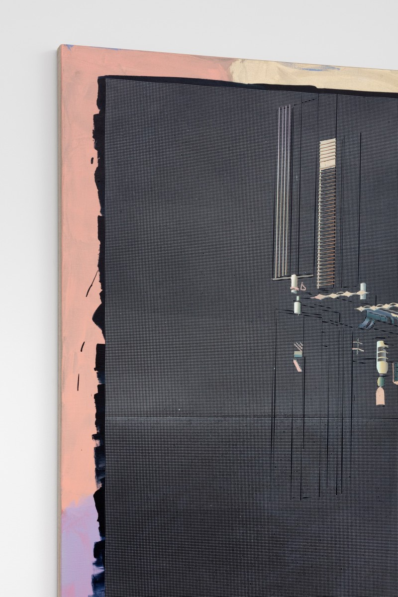 Detail: Ciu Jie, International Space Station, 2019, acrylic and spray paint on canvas, 210 x 500 cm (82 5/8 x 196 7/8 in) (overall), 210 x 250 cm (82 5/8 x 98 3/8 in) (each panel, 2 parts). Photo © Andrea Rossetti