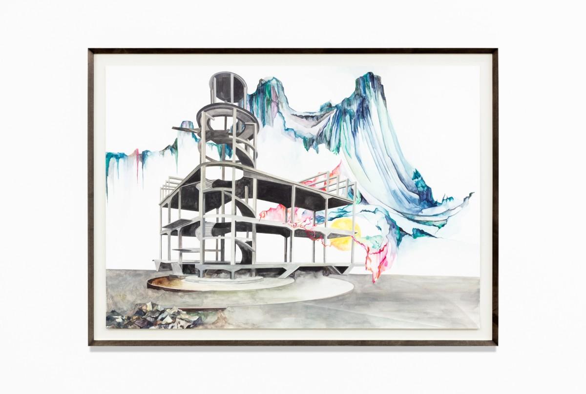 Isa Melsheimer, Nr. 473, 2021, gouache on paper, 70 x 100 cm (27 1/2 x 39 3/8 in) (unframed), 79 x 109 x 4 cm (31 1/8 x 42 7/8 x 1 5/8 in) (framed). Photo © Andrea Rossetti