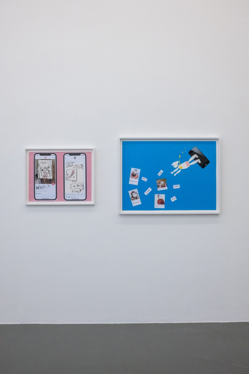 Left: Simon Fujiwara, Who's on Tinder? (Pink Profile), 2021, charcoal, pencil and inkjet print on paper, 53,8 x 66,6 x 3,5 cm (26 1/4 x 21 1/8 x 1 3/8 in) Right: Simon Fujiwara, Who's Looking for Love? (Deep Dive Dating), 2021, inkjet print and paper on card, 73 x 97 x 3,5 cm (28 3/4 x 38 1/4 x 1 3/8 in) Photo © Jeroen Lavèn