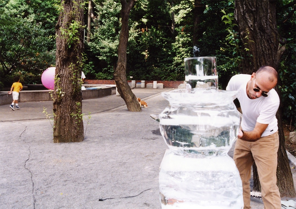 Production image: Philippe Parreno sculpting Iceman in Reality Park, Minami Aoyama, Tokyo, 1995. Photo © the artist.