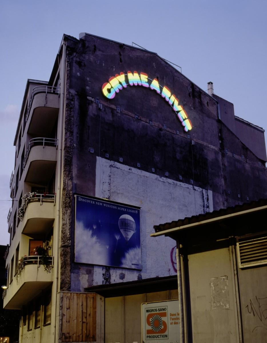 Ugo Rondinone, cry me a river, 1997, neon, perspex, translucent film, aluminum, 750 cm × 350 cm × 10 cm. Photo © Studio Rondinone.