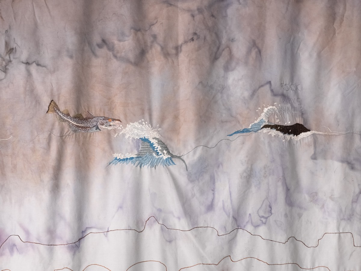 Detail: Isa Melsheimer, Curtain (The Year Of the Whale), 2018, fabric, thread, 290 x 300 cm. Photo © Roman März.