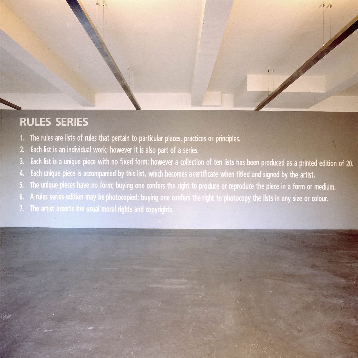 Exhibition view: Angela Bulloch, Rules Series, Esther Schipper, Cologne, 1993, Private collection. Photo © Lothar Schnepf