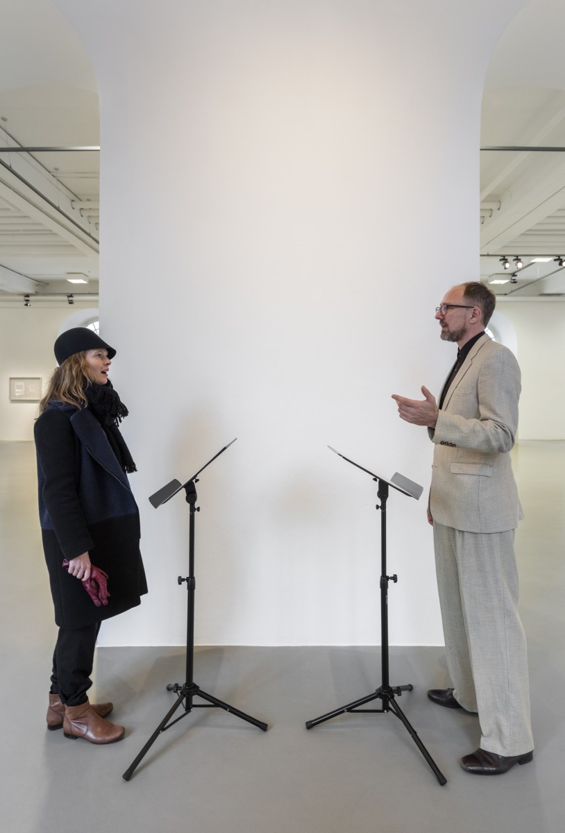 Ari Benjamin Meyers, DUET, 2014, 2 scores on paper, 2 music stands, pdf file, instructions, 31,5 x 24 cm each (score), edition of 5. Exhibition view: Tacet, Kasseler Kunstverein, Kassel, 2019. Photo © Andrea Rossetti