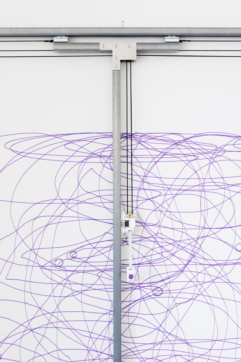 Detail: Angela Bulloch, Dynamic Stereo Drawing Machine, 2020, sound-activated drawing machine, ink, metal rails and electronic motor, paper, 170 x 300 cm (170 x 300 x 66 7/8 in) approx. Photo © Andrea Rossetti