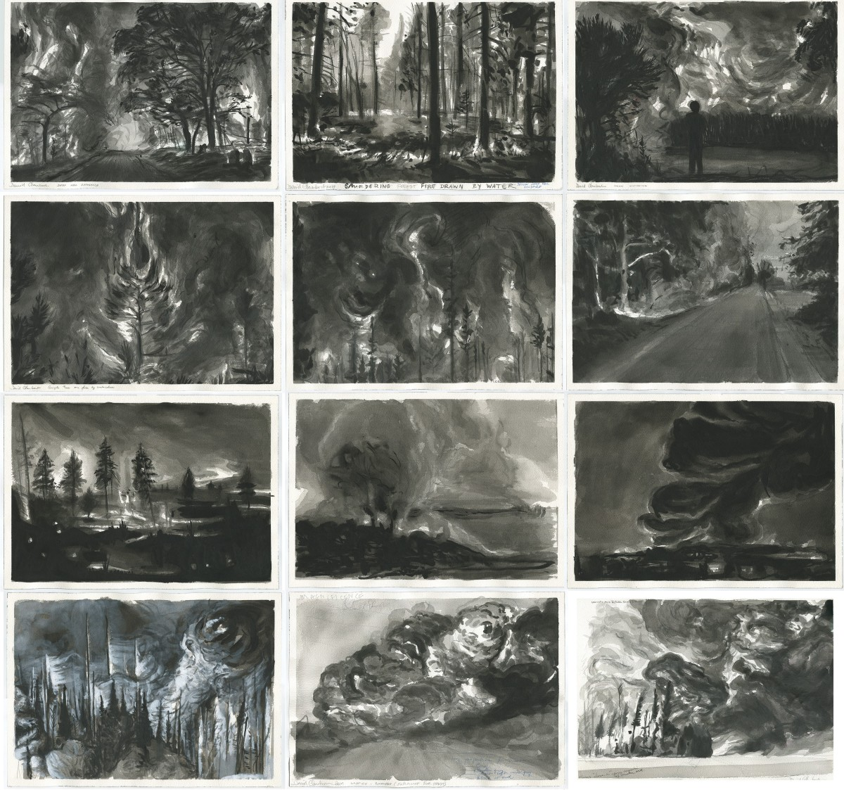 David Claerbout, Wildfire drawings, 2020, China ink and pencil on paper, mounted on cardboard, dimensions variable. Photo © Studio David Claerbout