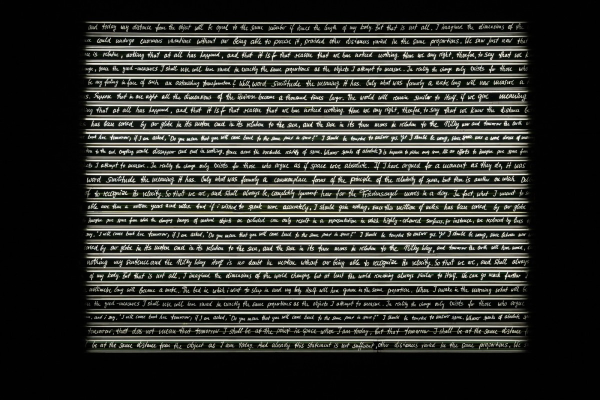 Rosa Barba, Sight Enables Us to Appreciate Distance, 2013/2016, 70 mm film, aluminium, LED, motors, 180 x 260 x 17 cm (70 7/8 x 102 3/8 x 6 3/4 in), edition of 1 Exhibition view: Remai Modern, Saskatoon, 2018. Photo © Blaine Campbell