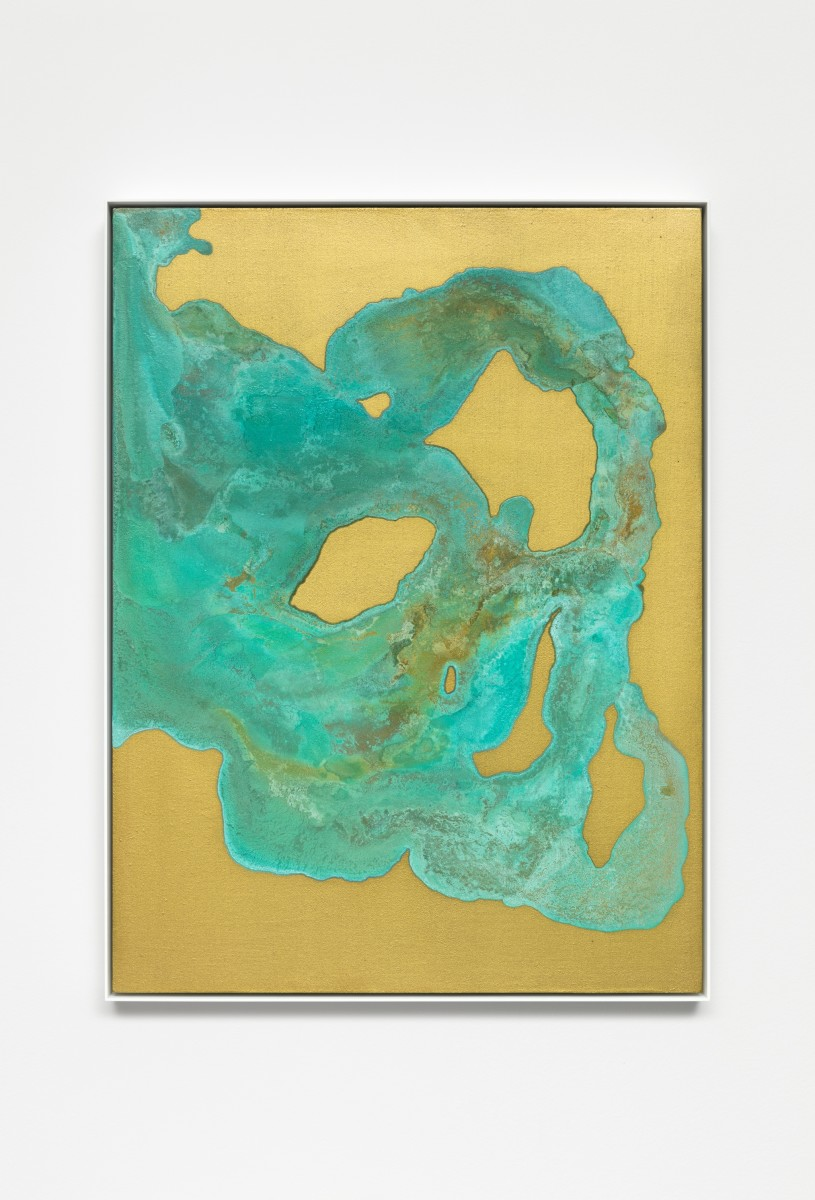 Etienne Chambaud Nameless, 2019 Coyote, wolf and raccoon urine, bronze powder, acrylic medium and acrylic varnish on canvas 80 x 60 x 3,5 cm (31 1/2 x 23 5/8 x 1 3/8 in)