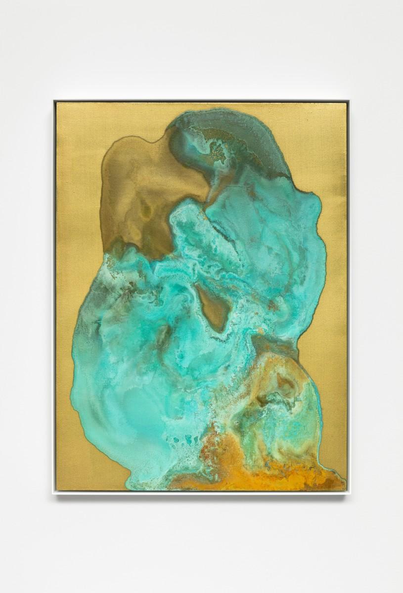 Etienne Chambaud Nameless, 2019 Coyote, rabbit and elk urine, bronze powder, acrylic medium and acrylic varnish on canvas 80 x 60 x 3,5 cm (31 1/2 x 23 5/8 x 1 3/8 in)