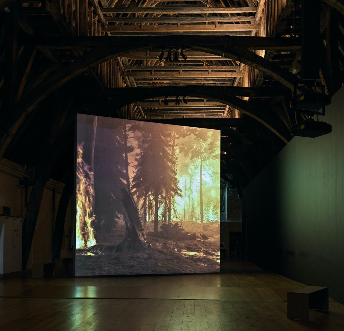 David Claerbout, Wildfire (meditation on fire), 2019-2020, single channel video projection, 3D animation (stereo audio, color), duration: 24 min, edition of 7. Exhibition view: Memling Now: Hans Memling in contemporary art, Sint Janshospitaal, Bruges, 2020. Collection Musea Brugge. Photo © Dominique Provost