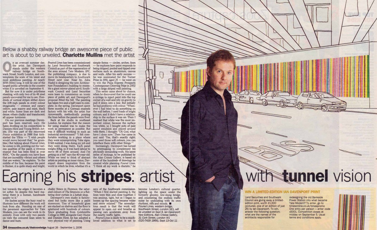 Earning his stripes: artist with tunnel vision