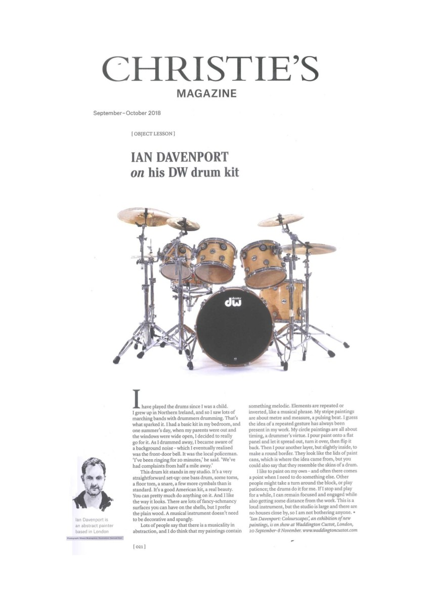 Ian Davenport on his DW drum kit