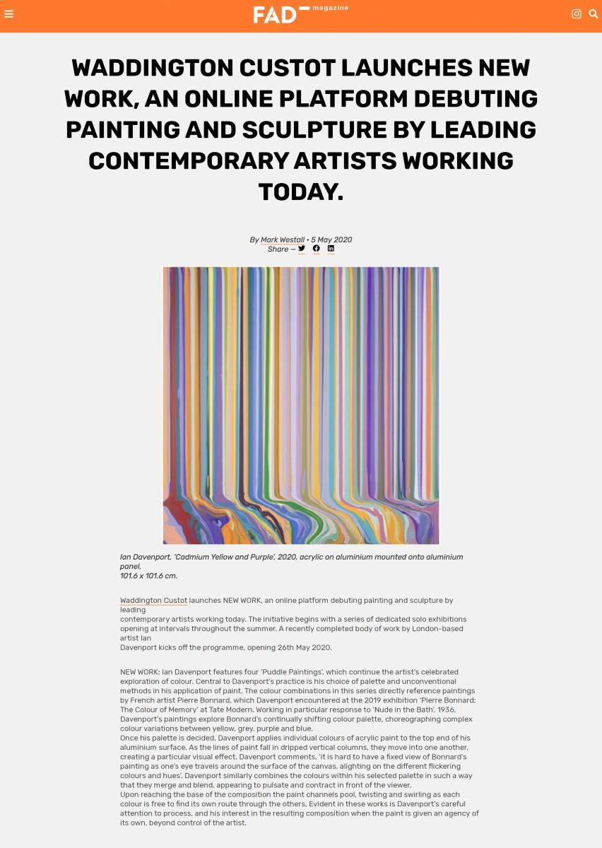 Waddington Custot Launches 'New Work'