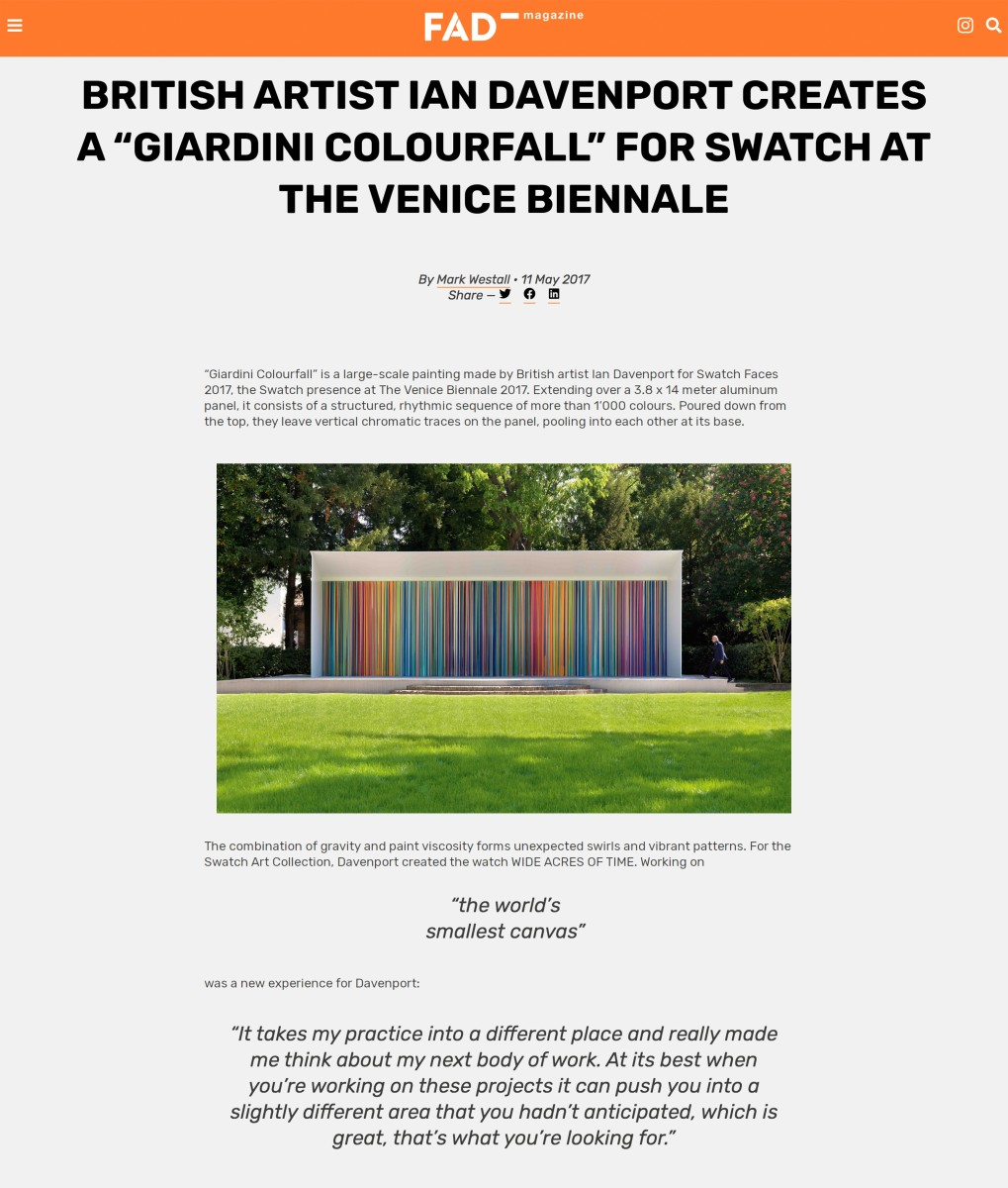 British Artist Ian Davenport creates a 'Giardini Colourfall' for Swatch at the Venice Biennale