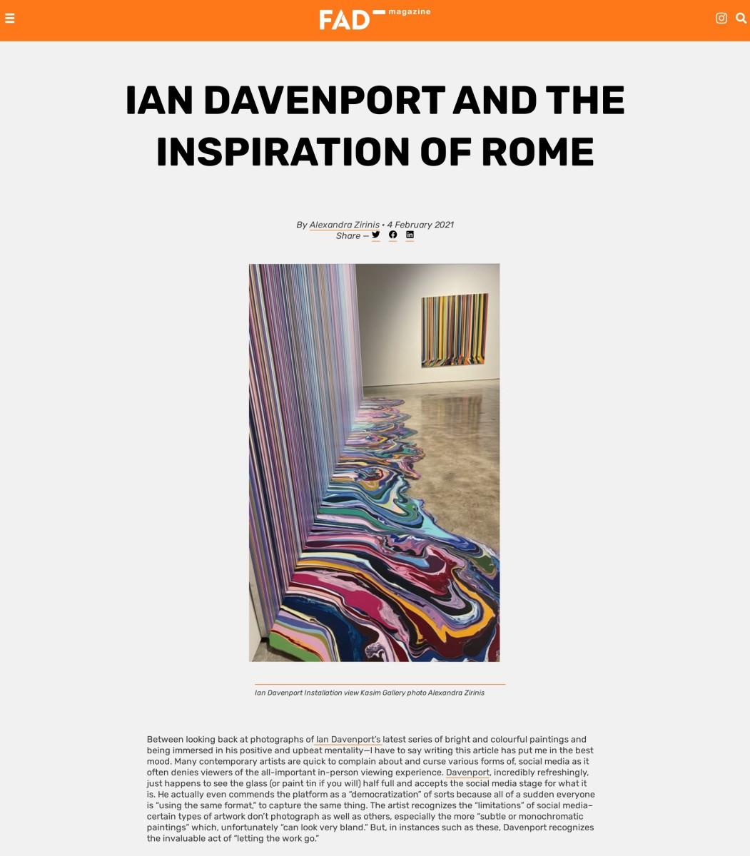 Ian Davenport and the Inspiration of Rome Part 1