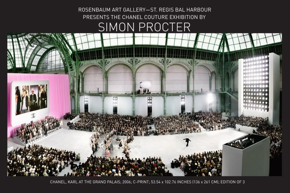 Invitation for Simon Procter Chanel Couture Exhibition presented by Rosenbaum Art Gallery St. Regis Bal Harbour featuring Chanel, Karl at the Grand Palais; 2006; C-print; 53.54 x 102.76 inches (136 x 261 cm); Edition of 3