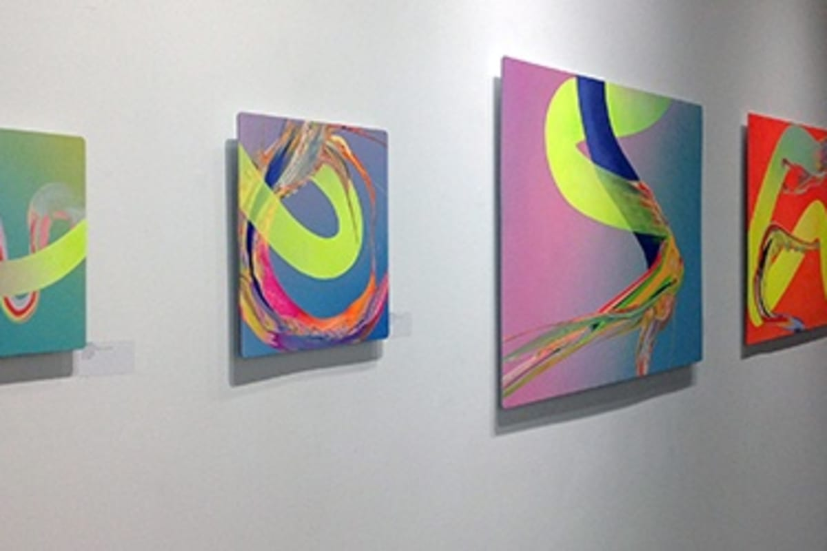 Works by Erik Minter installed at the RC2 Gallery