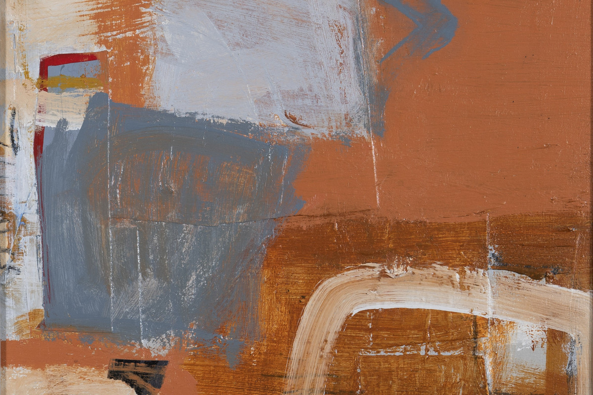 Blue on Terracotta (detail), mixed media on panel, 30 x 30 cms