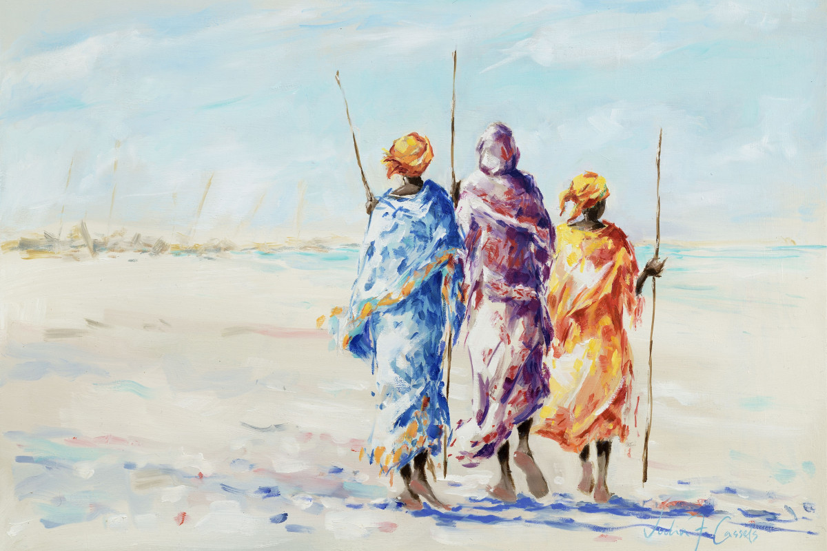 Fisherwomen of Zanzibar (detail), oil on canvas, 42 x 60 cms