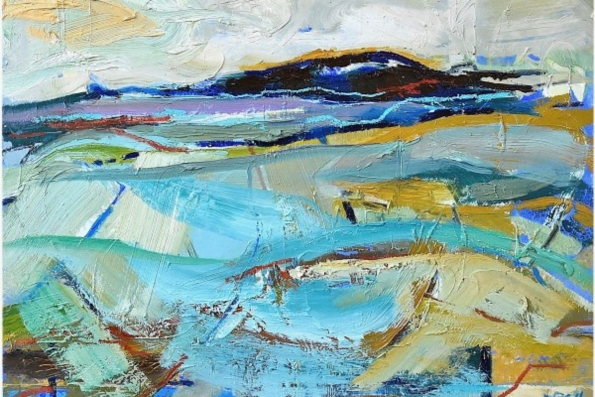Blue Field (detail), oil on board, 38 x 51 cms